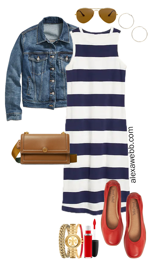 A plus size rugby stripe dress outfit with red flats, denim jacket, and crossbody bag. Perfect for fall casual looks or a teacher's outfit. Alexa Webb