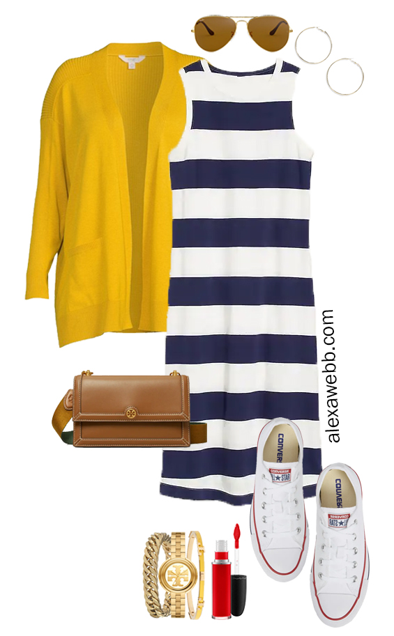 A plus size rugby stripe dress outfit with sneakers, yellow cardigan, and crossbody bag. Perfect for a fall casual outfit. Alexa Webb