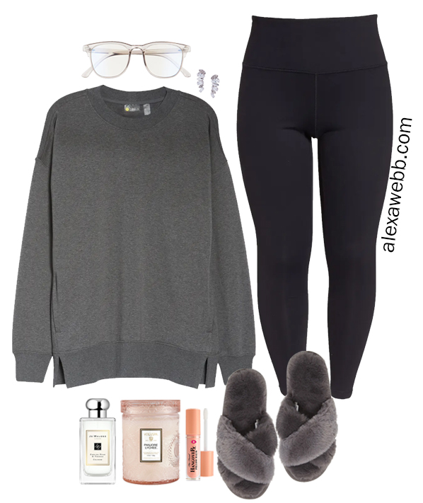 Plus Size Grey Tunic Sweatshirt Loungewear Outfit with Black Leggings and Slippers from a Plus Size Athleisure Mini Capsule for Fall from Alexa Webb