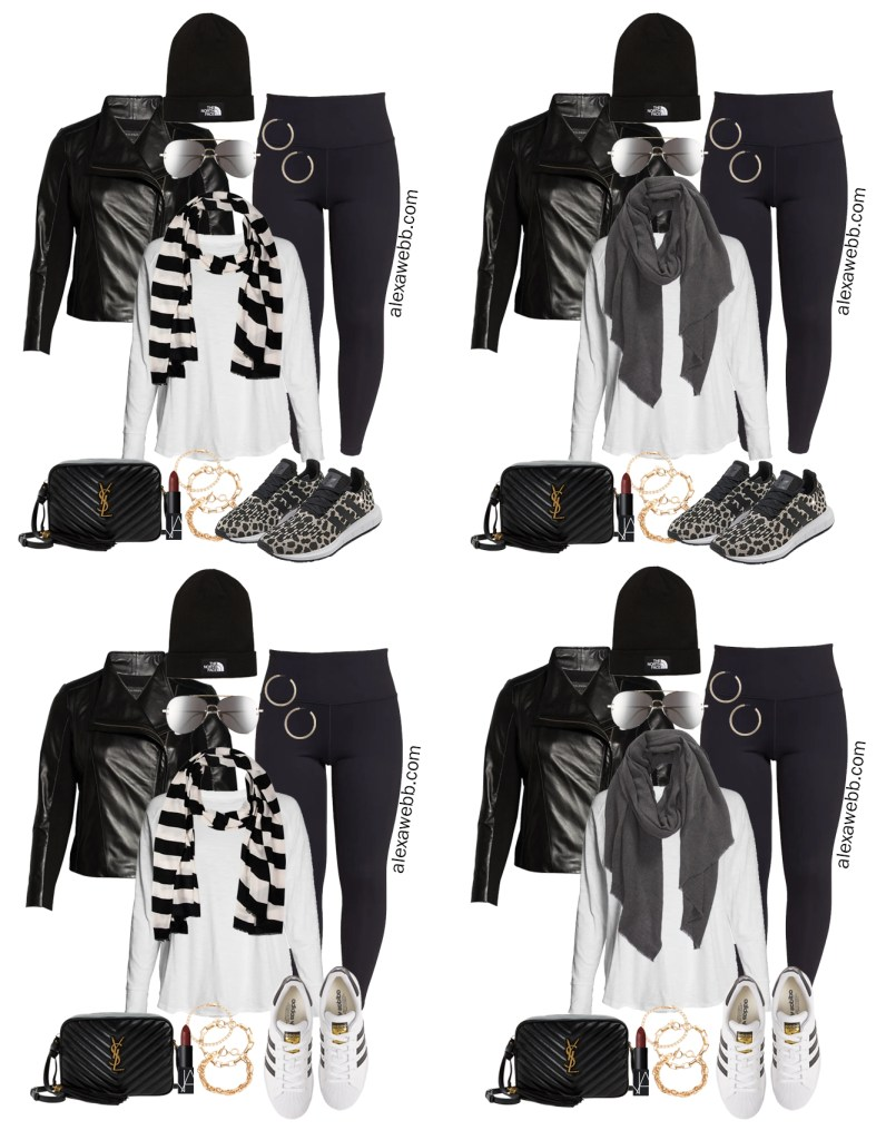 Plus Size Leather Moto Jacket Outfits from a Plus Size Athleisure Mini Capsule for Fall with Sneakers. Alexa Webb