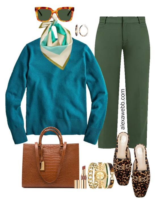 2021 Plus Size Fall Work Capsule Wardrobe by Alexa Webb. This is just part one of a series. This business casual outfit idea features green pants, a teal cashmere sweater, and leopard mules.