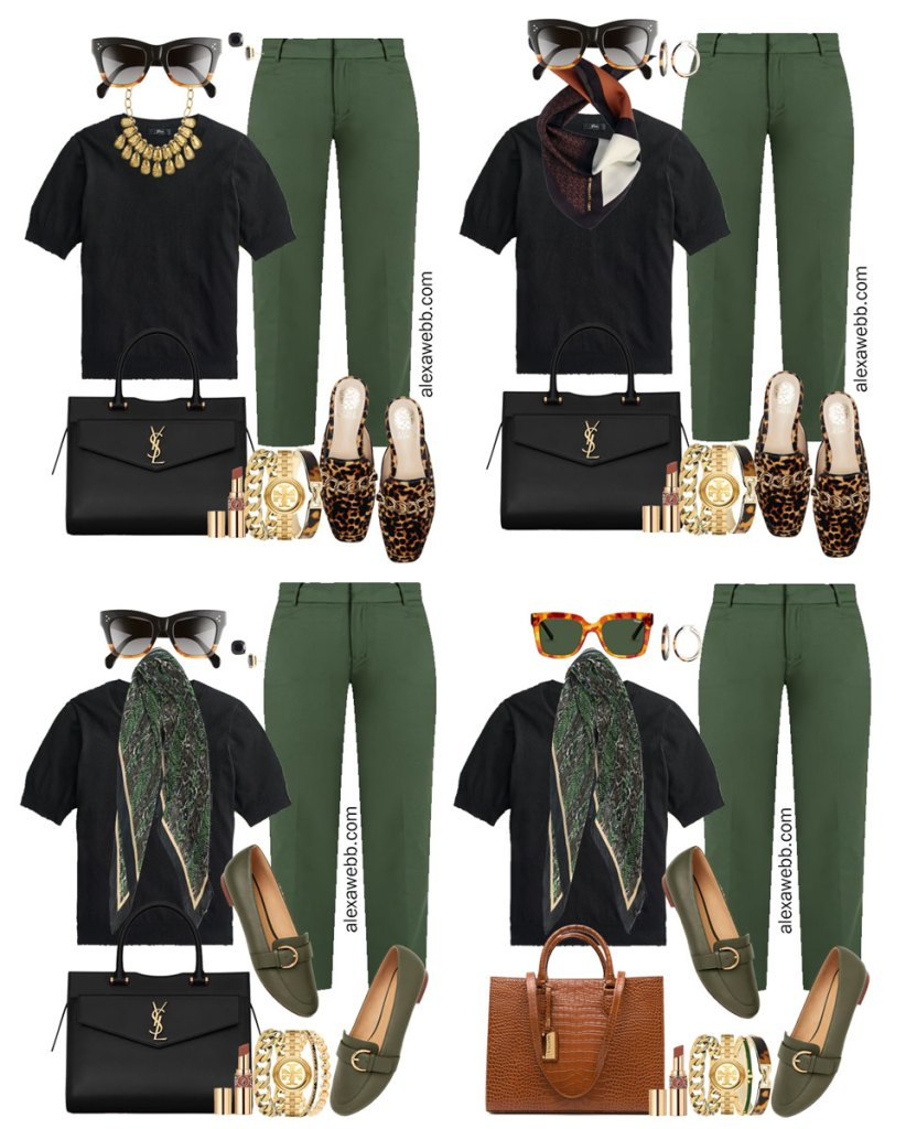 Plus Size Green Pants with Black Silk Sweater Work Outfits from Alexa Webb's 2021 Plus Size Fall Work Capsule Wardrobe