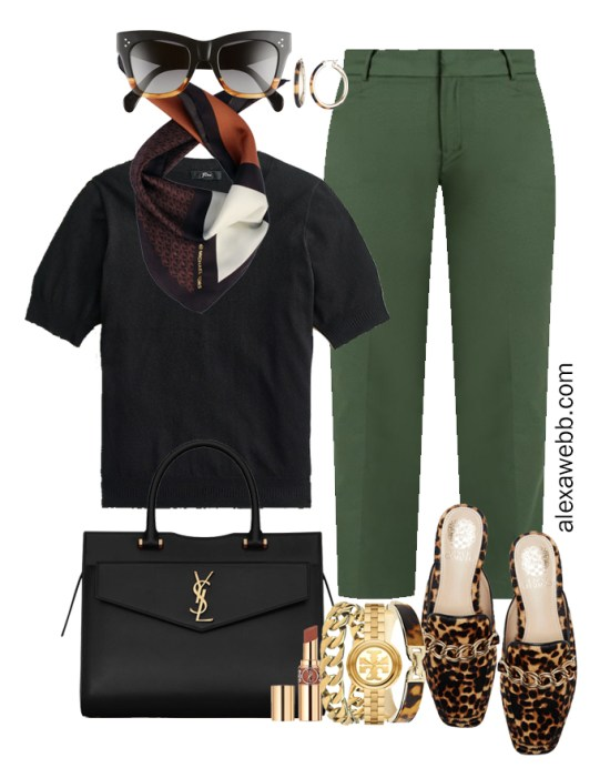 2021 Plus Size Fall Work Capsule Wardrobe by Alexa Webb. This is just part one of a series. This business casual outfit idea features green pants, a black silk sweater, and leopard mules.