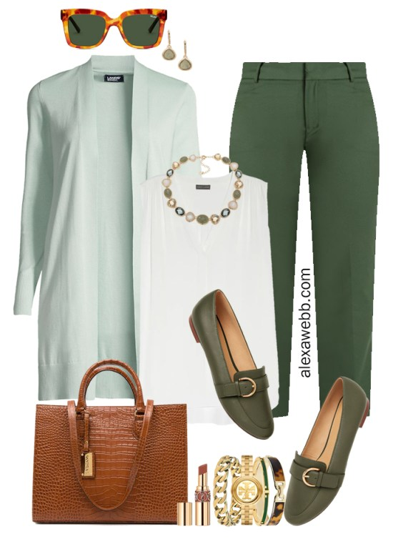 2021 Plus Size Fall Work Capsule Wardrobe by Alexa Webb. This is just part one of a series. This business casual outfit idea features green pants and a mint cardigan.