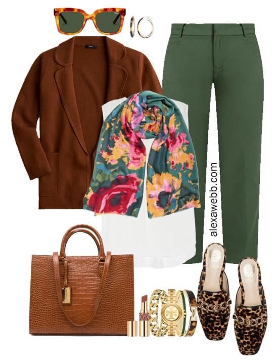 Plus Size Green Pants & Sweater Blazer Outfits from Alexa Webb's 2021 Plus Size Fall Work Capsule Wardrobe