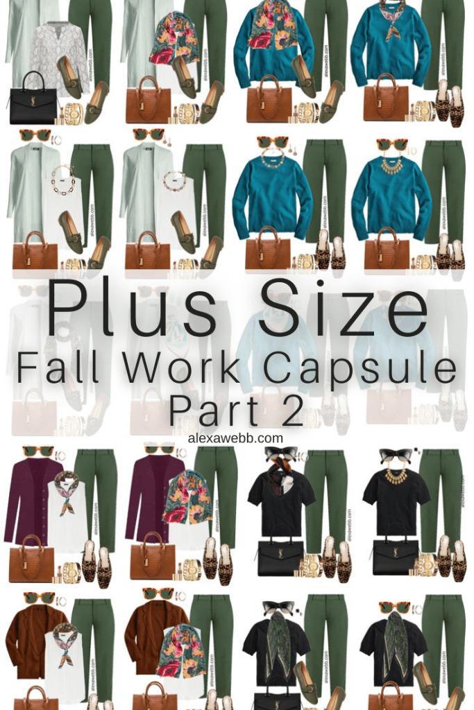 2021 Plus Size Fall Work Capsule Wardrobe by Alexa Webb. This is just part one of a series. These business casual looks with color..