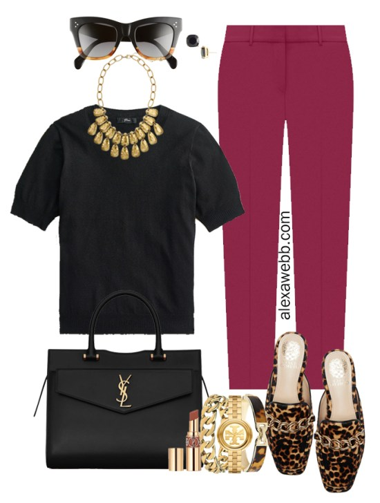 Plus Size Plum Pants & Black Silk Sweater Outfits from Alexa Webb's 2021 Plus Size Fall Work Capsule Wardrobe. This outfit features a gold statement necklace, leopard mules, and a YSL black satchel.