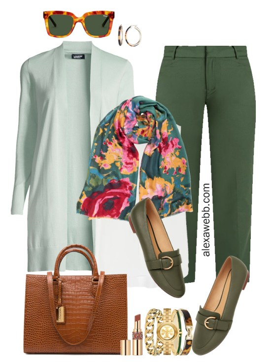 2021 Plus Size Fall Work Capsule Wardrobe by Alexa Webb. This is just part one of a series. This business casual outfit idea features green pants, a mint cardigan, and a floral scarf.