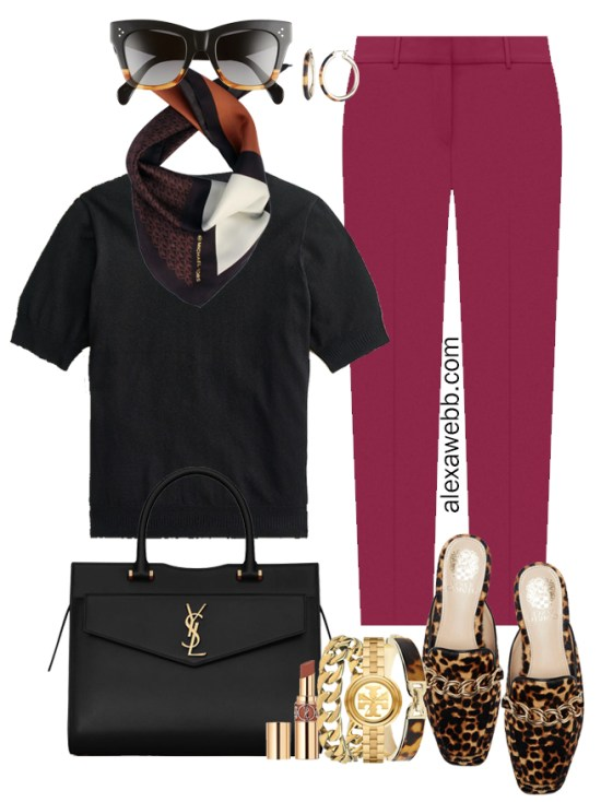 Plus Size Plum Pants & Black Silk Sweater Outfits from Alexa Webb's 2021 Plus Size Fall Work Capsule Wardrobe. This outfit features a color-blocked bandana silk scarf, leopard mules, and a YSL black satchel.