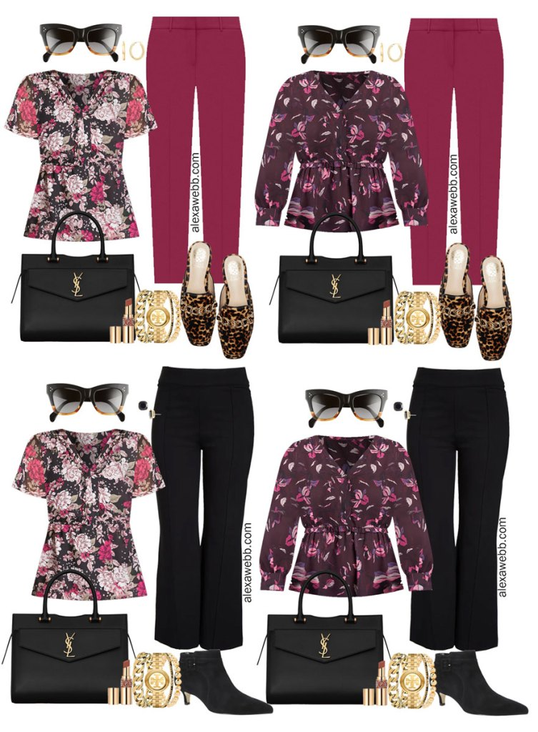 Plus Size Plum Pants and Black Trousers Outfits from Alexa Webb's 2021 Plus Size Fall Work Capsule Wardrobe. These business casual outfit feature printed blouses, leopard mules, and a black Saint Laurent satchel.