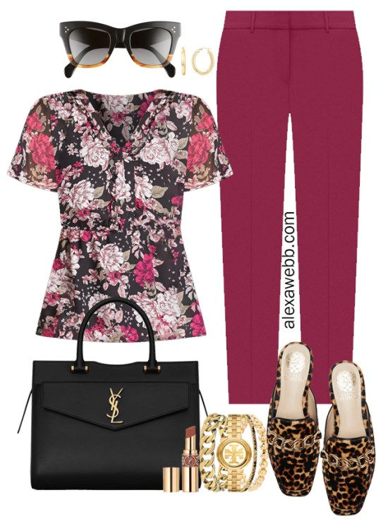 Plus Size Plum Pants Outfit from Alexa Webb's 2021 Plus Size Fall Work Capsule Wardrobe. This business casual outfit features a printed short-sleeve blouse, leopard mules, and a black Saint Laurent satchel.