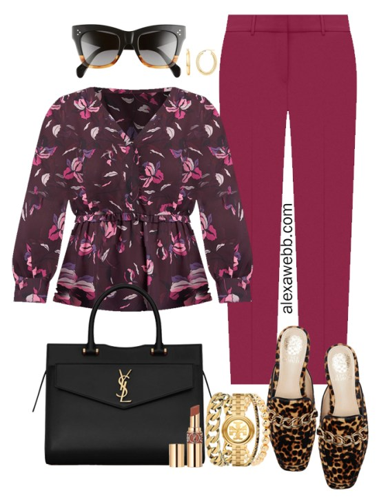 Plus Size Plum Pants Outfit from Alexa Webb's 2021 Plus Size Fall Work Capsule Wardrobe. This business casual outfit features a printed blouse, leopard mules, and a black Saint Laurent satchel.