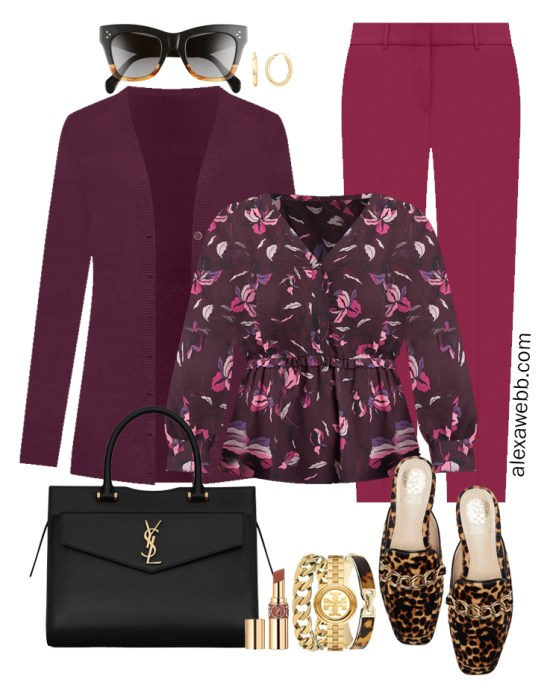 Plus Size Plum Pants and Eggplant Cardigan Outfits from Alexa Webb's 2021 Plus Size Fall Work Capsule Wardrobe. These business casual outfit features a printed blouse, leopard mules, and a black Saint Laurent satchel.