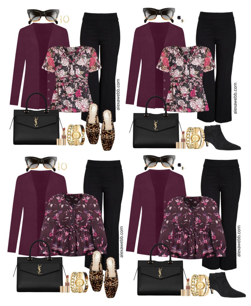 Plus Size Black Flared Pants and Eggplant Cardigan Outfits from Alexa Webb's 2021 Plus Size Fall Work Capsule Wardrobe. These business casual outfits feature printed blouses, leopard mules or black ankle booties, and a black Saint Laurent satchel.