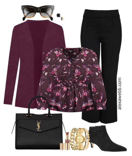 Plus Size Black Flared Pants and Eggplant Cardigan Outfits from Alexa Webb's 2021 Plus Size Fall Work Capsule Wardrobe. This business casual outfit features a floral printed blouse, black ankle booties, and a black Saint Laurent satchel.