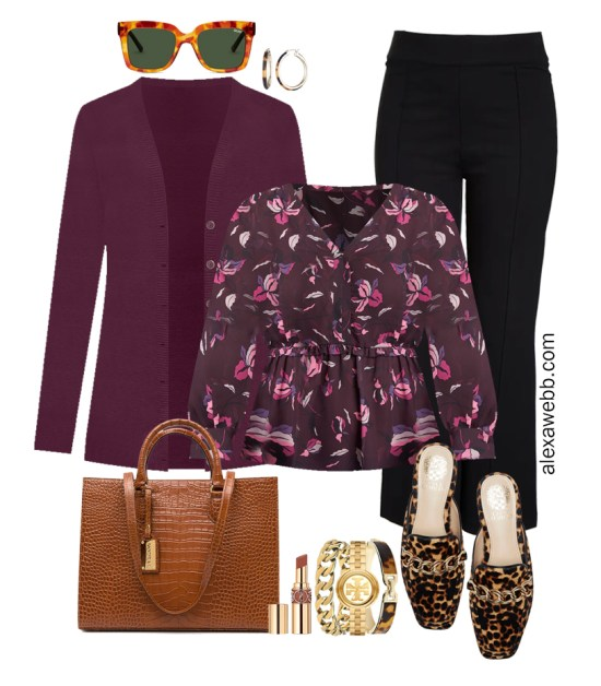 Plus Size Black Flared Pants and Eggplant Cardigan Outfit from Alexa Webb's 2021 Plus Size Fall Work Capsule Wardrobe. This business casual outfit features printed blouse, leopard mules, and a cognac croc tote.