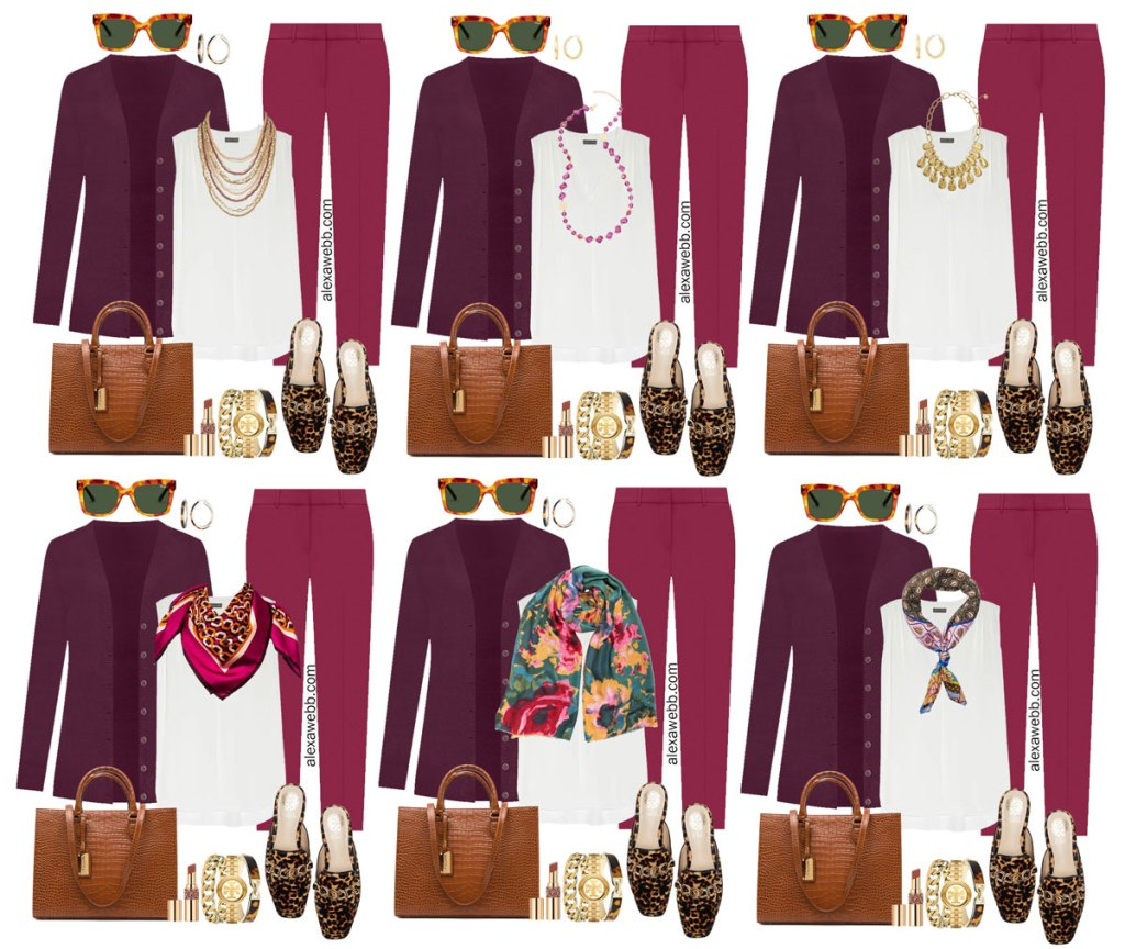 Plus Size Plum Pants and Eggplant Cardigan Outfits from Alexa Webb's 2021 Plus Size Fall Work Capsule Wardrobe