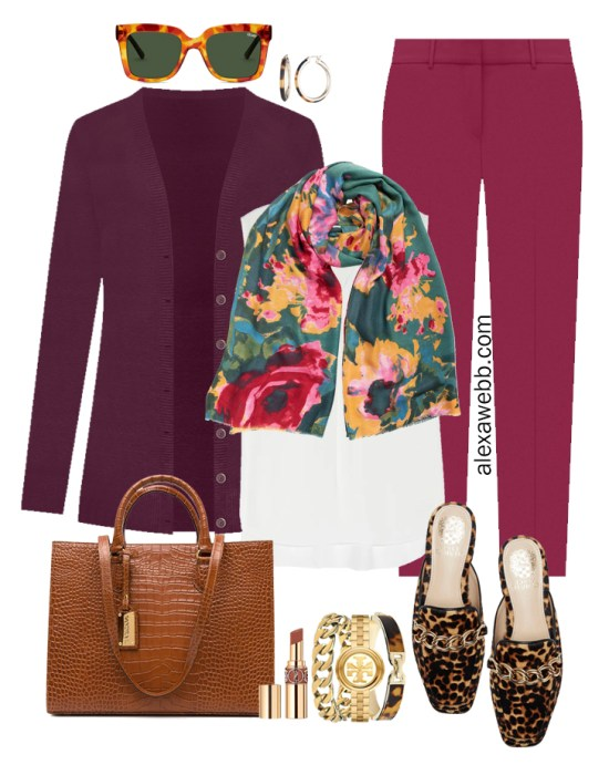 Plus Size Plum Pants and Eggplant Cardigan Outfits from Alexa Webb's 2021 Plus Size Fall Work Capsule Wardrobe. This business casual outfit features a floral teal scarf, leopard mules, and a cognac tote.