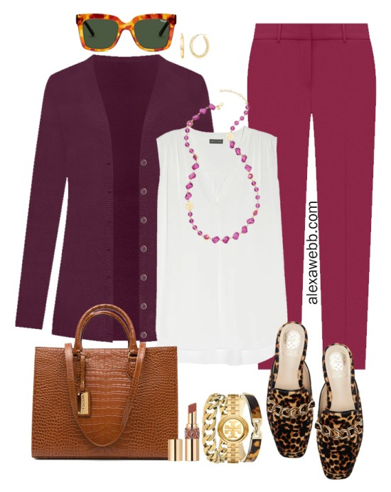 Plus Size Plum Pants and Eggplant Cardigan Outfits from Alexa Webb's 2021 Plus Size Fall Work Capsule Wardrobe. This business casual outfit features a long pink beaded necklace, leopard mules, and a cognac tote.