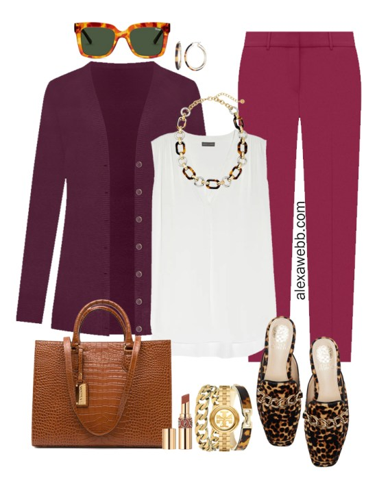 Plus Size Plum Pants and Eggplant Cardigan Outfits from Alexa Webb's 2021 Plus Size Fall Work Capsule Wardrobe. This business casual outfit features a tortoise chain necklace, leopard mules, and a cognac tote.