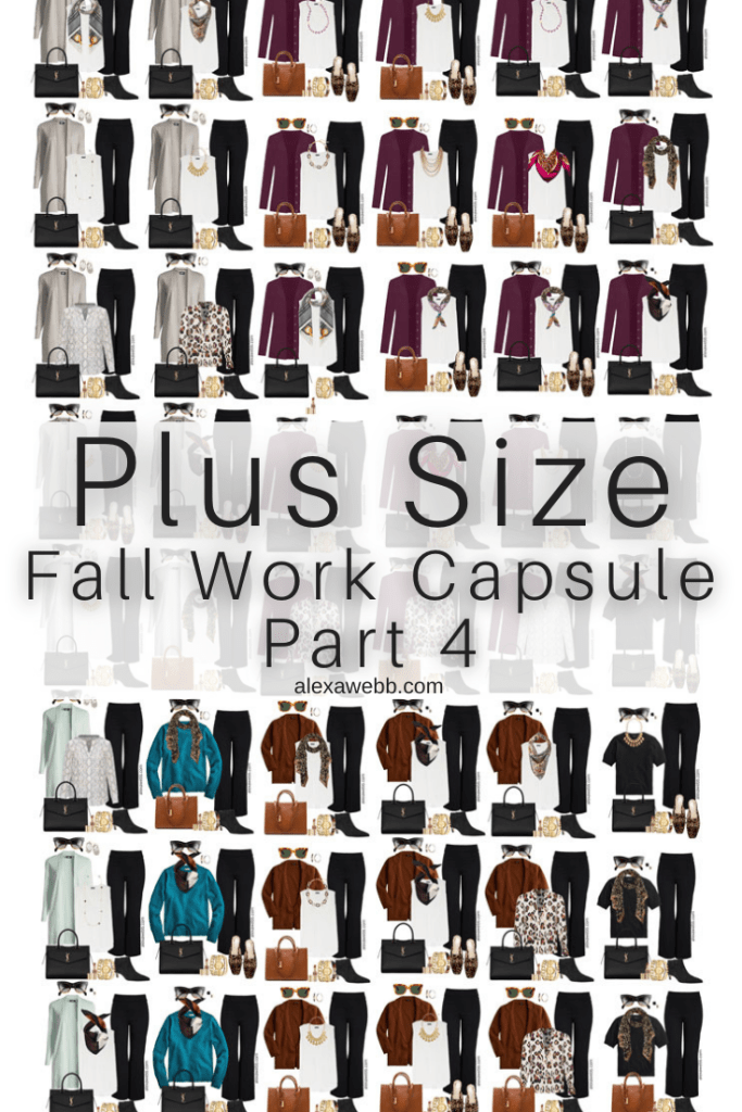 2021 Plus Size Fall Work Capsule Wardrobe by Alexa Webb. This is just part four of a series. Check out these business casual outfit ideas with color and neutrals.
