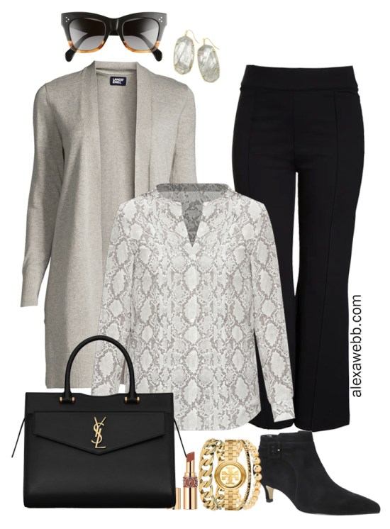 Plus Size Black Flare Pants & Grey Cardigan Outfits from my 2021 Plus Size Fall Work Capsule Wardrobe - Alexa Webb - These plus size business casual outfit ideas feature black trousers, a grey cardigan, a snake print blouse, and black ankle booties with kitten heel.