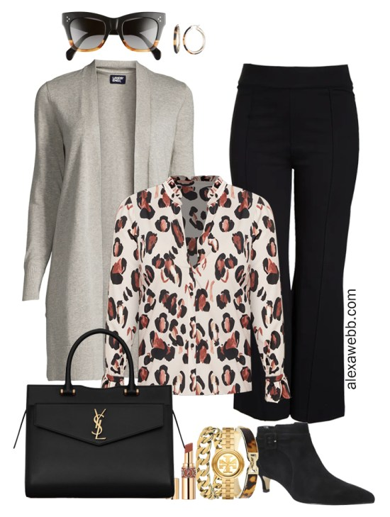 Plus Size Black Flare Pants & Grey Cardigan Outfits from my 2021 Plus Size Fall Work Capsule Wardrobe - Alexa Webb - These plus size business casual outfit ideas feature black trousers, a grey cardigan, a leopard print blouse, and black ankle booties with kitten heel.