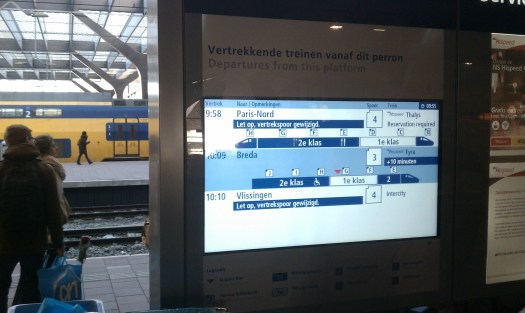 On-platform display at Rotterdam Central, showing platform locations (letters) for first class and second class coaches for the Thalys high speed service to Paris. Photo my the author.