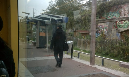 Community gardening spaces in unused right of way adjacent to the Belvedere T2 station. Photo by the author.