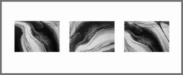 Oxygenation trail triptych 3x 20x25cm Print Framed Aluminium 40cm x 100cm 1 of ed10