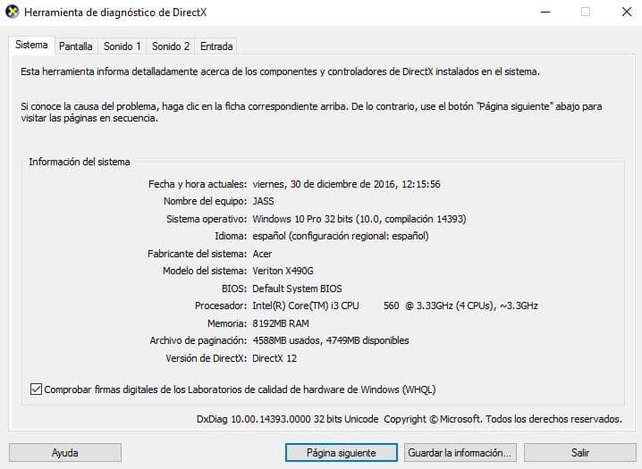 Como saber la versión de DirectX instalada en mi PC con Windows 10