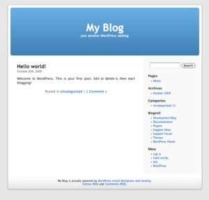 The default WordPress theme at the time, which ""