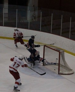 Rookie SAIT forward Brayden Allkins scores one of his three goals early in the first period of an 11-1 rout of the Portage College Voyageurs on Feb. 23, 2018. Allkins also got two assists in the game. (Alex Hamilton/SAIT.)