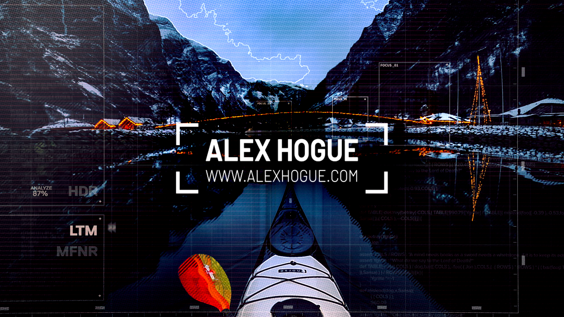 Kayak in the water with digital editing and Alex Hogue Logo and website