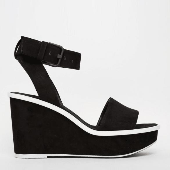 Aldo black wedge sandals