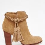 Faith tan tassel suede ankle boots