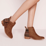 Missguided embroided tan ankle boots