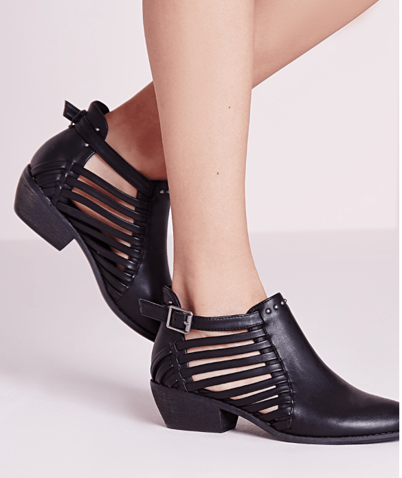 Missguided black cut out low ankle boots