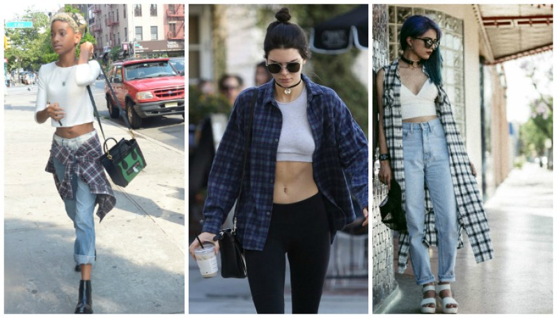 How to Dress Grunge Style Plaid Crop Top