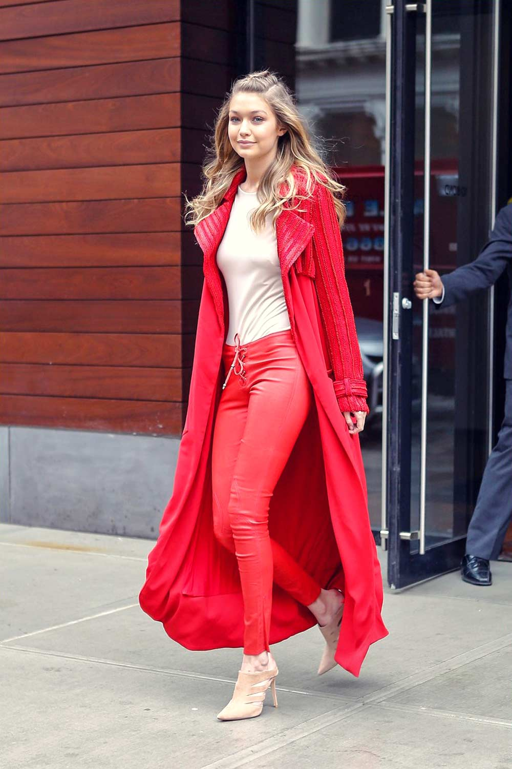 gigi hadid leather pants red celebrities style