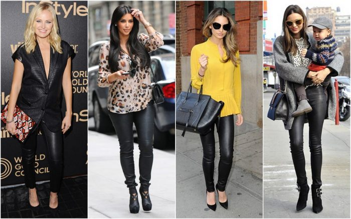 women wearing leather pants