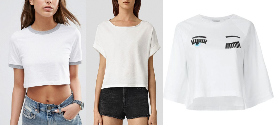 outfit grid white t shirts cropped women fashion