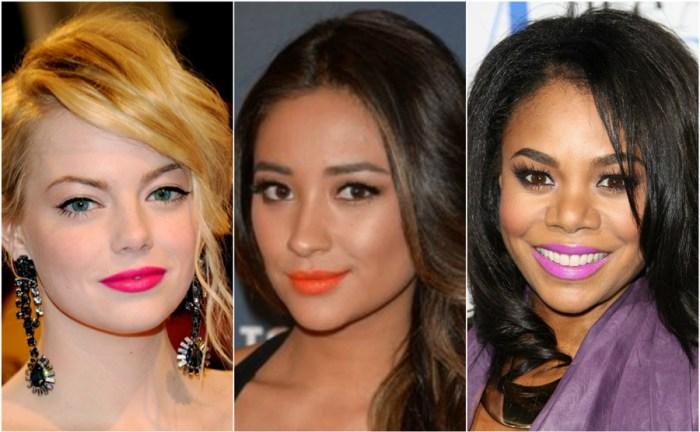 Bright Lipstick How Wear Lip Colour Pink Orange Purple Emma Stone Shay Mitchell