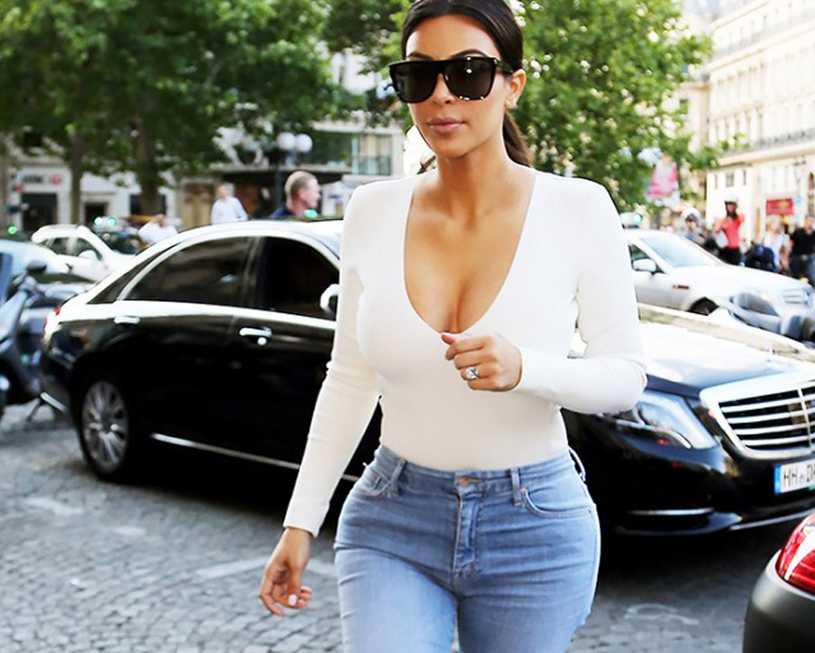 Kim Kardashian Hourglass Shaped Fit High Waisted Jeans Fashion Style Fit