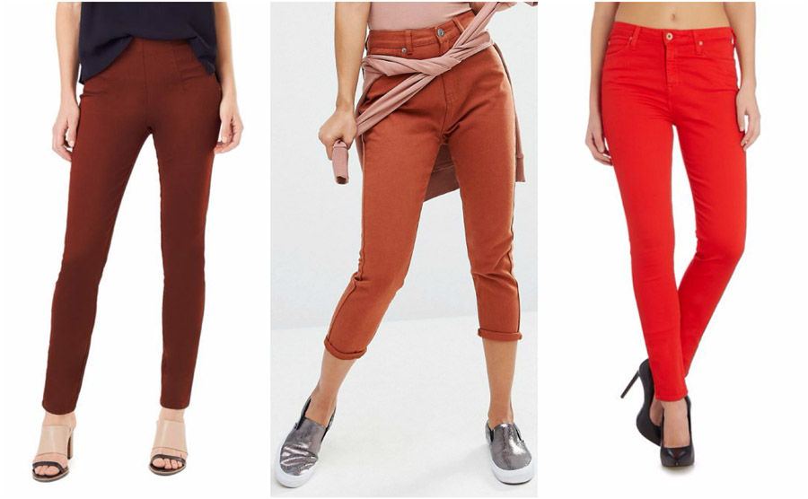 Red Coloured High Waist Jeans Shop Grid Alexie 2