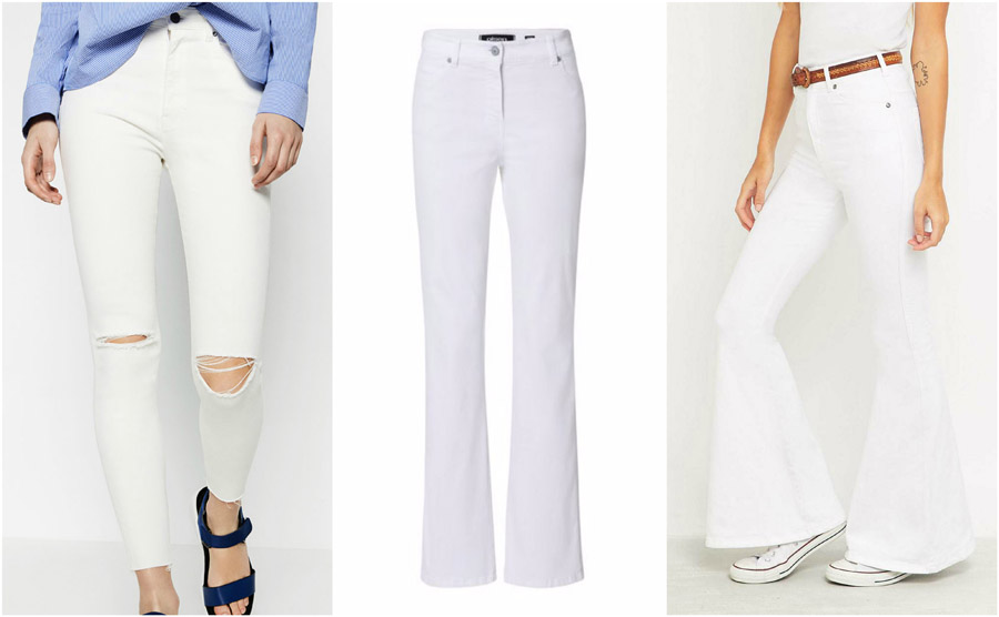 White Coloured High Waist Jeans Shop Grid Alexie 2