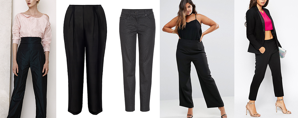 outfit grid black trousers pants hourglass pear apple petite