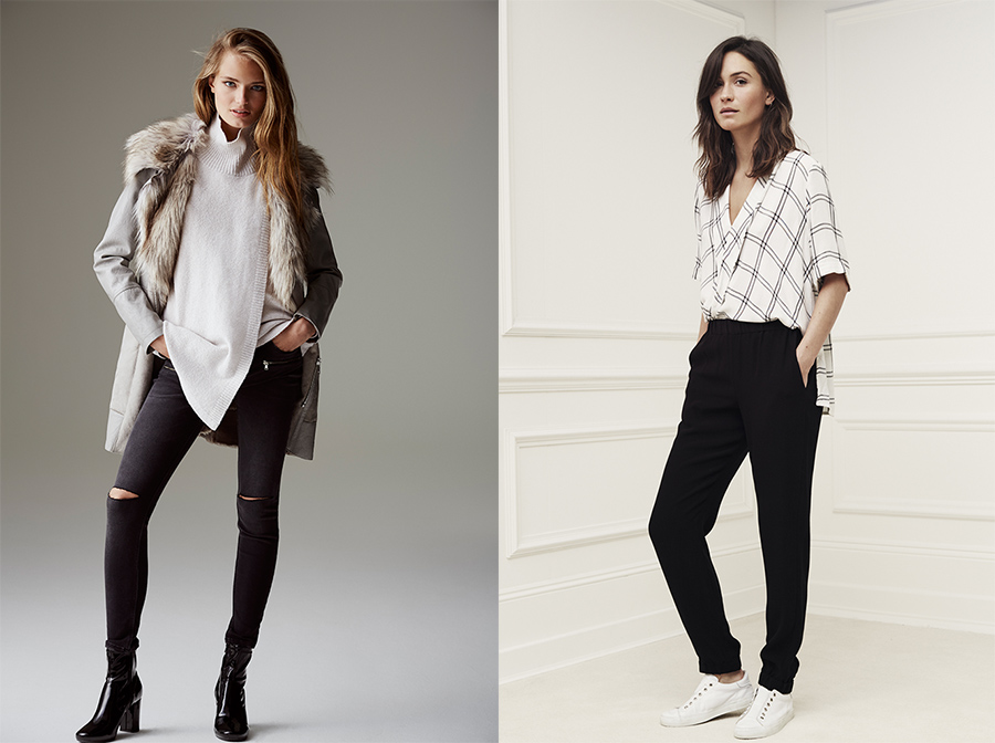 outfit grid womens black pants white shirts casual