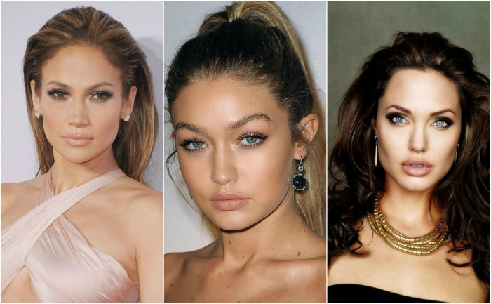 Celebrity grid of nude lipsticks (Jennifer Lopez, Gigi Hadid and Angelina Jolie)
