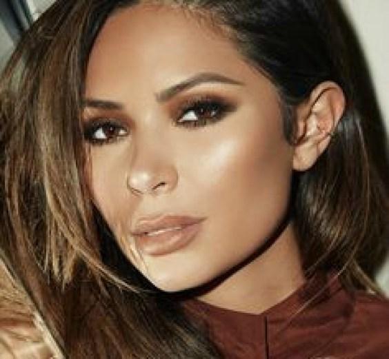 Brown nude lipstick on model